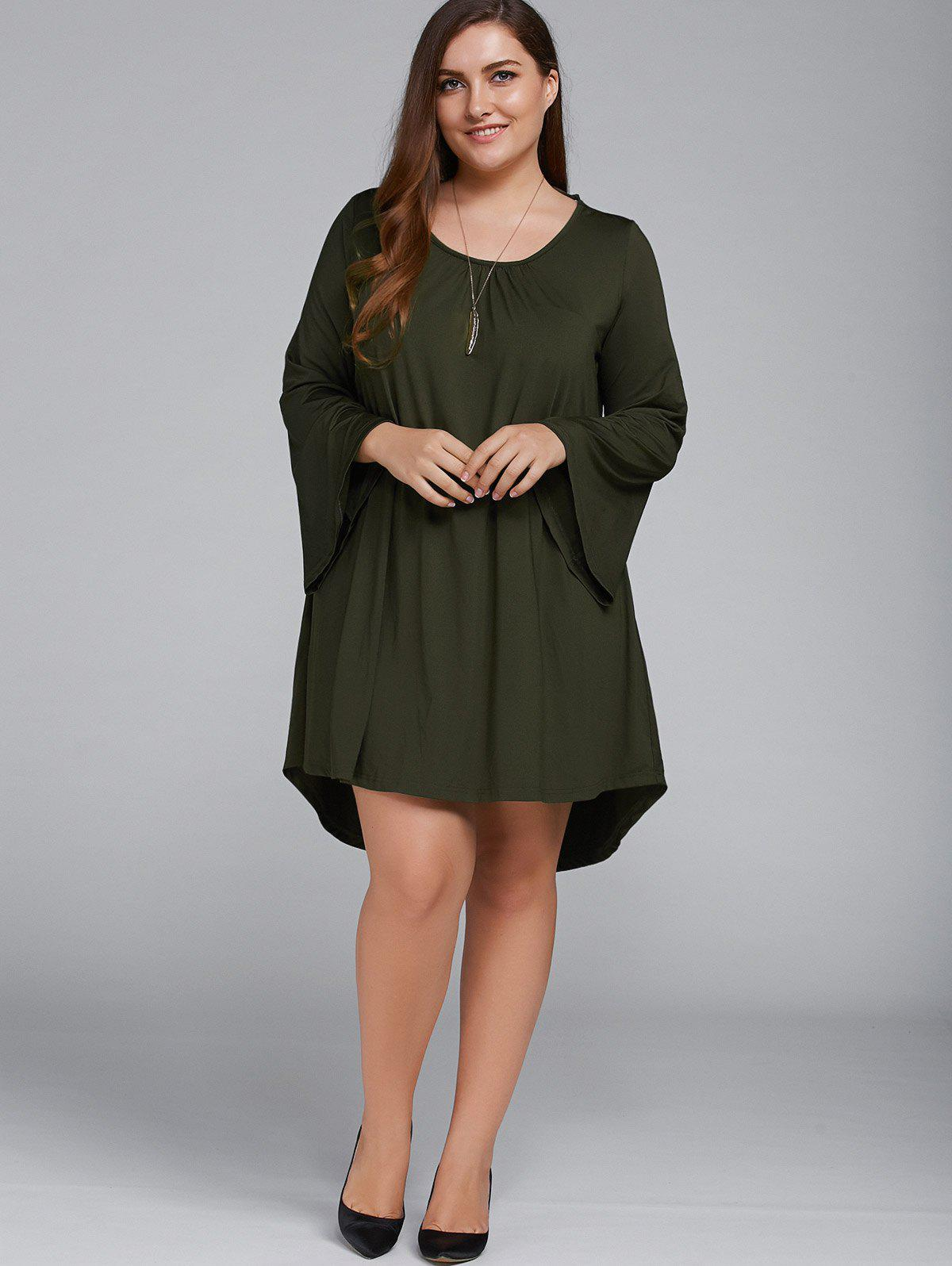 Plus Size Flare Sleeve Lace-Up Dress - OLIVE GREEN XL