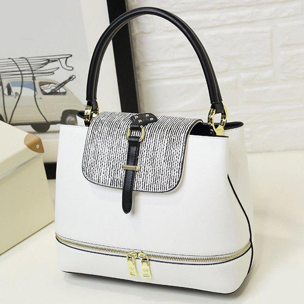 Stripes Zip Embellished PU Leather Handbag - WHITE