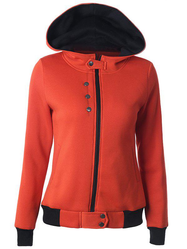 Casual Buttoned Long Sleeve Zipper Up Hoodie - SWEET ORANGE M