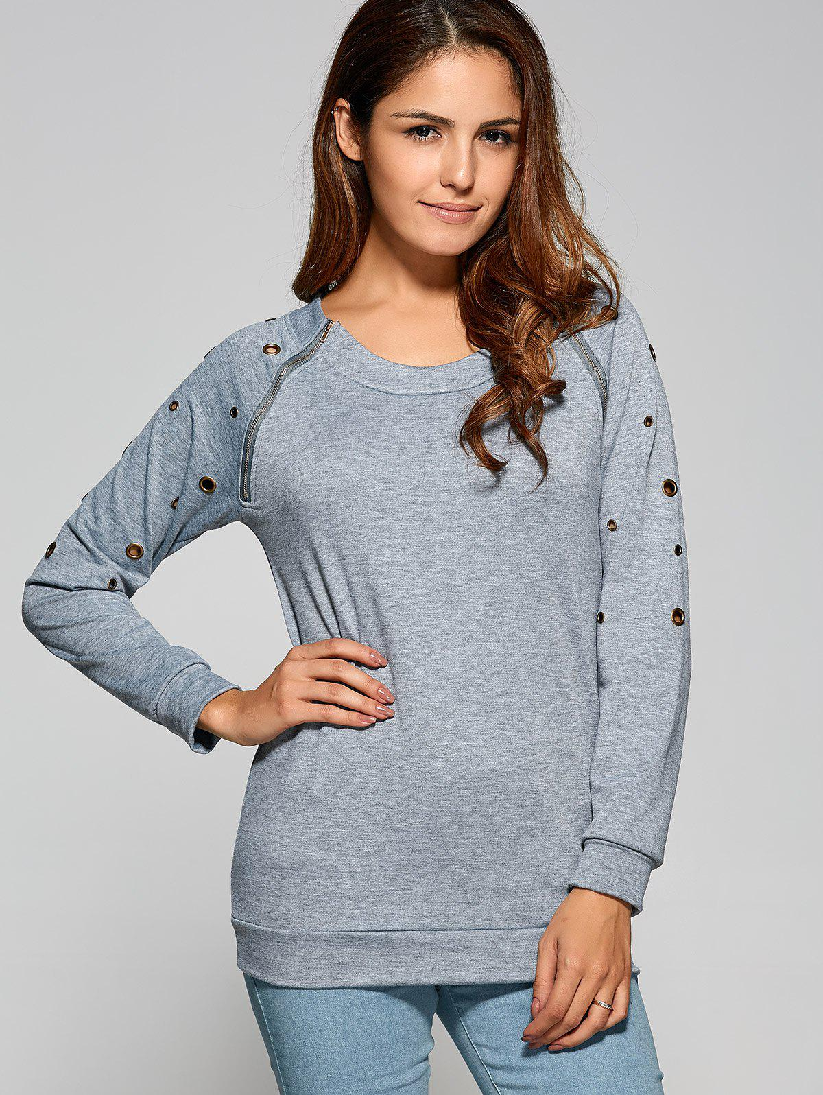 Zipper Openwork Detailed Sweatshirt - GRAY M