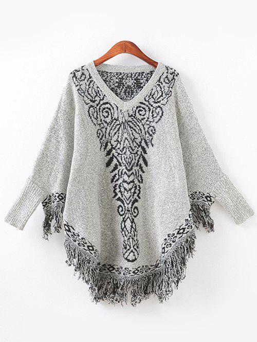 Jacquard Fringed Loose Cape Sweater - GRAY ONE SIZE