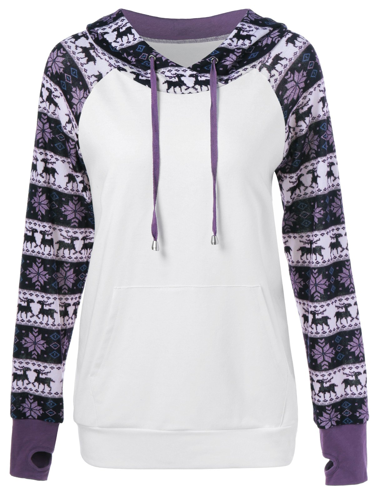 Elk Print Thumb Hole HoodieWomen<br><br><br>Size: M<br>Color: WHITE