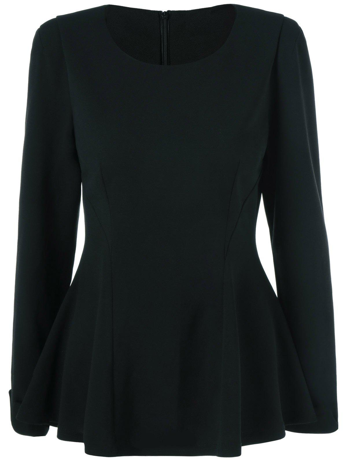 Cuffed Sleeve Peplum Blouse - BLACK XL