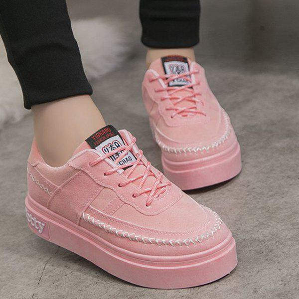 Lace Up Stitching Suede Platform Shoes - PINK 37