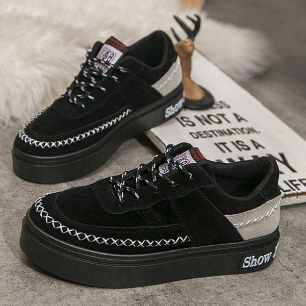 Lace Up Stitching Suede Platform Shoes - BLACK 37
