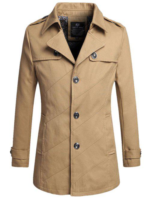 Single-Breasted Lapel Slim Coat - KHAKI 4XL