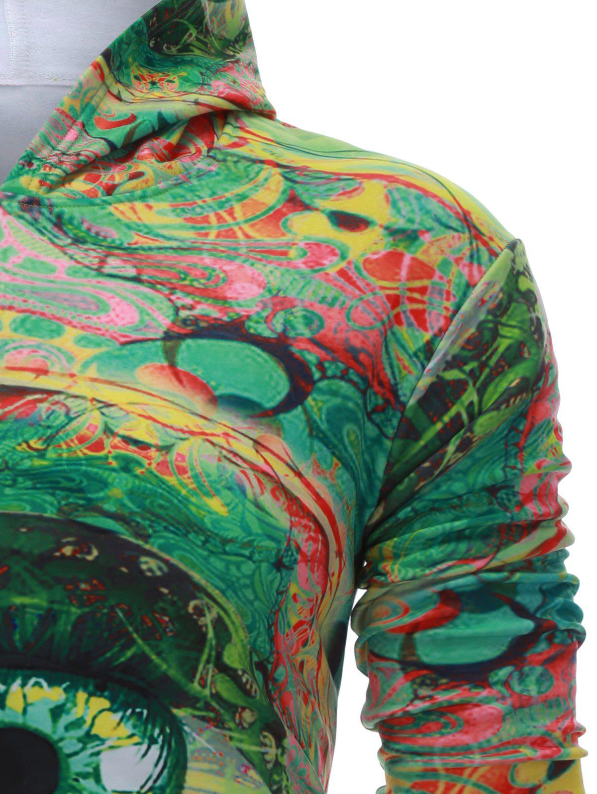 Capuche manches longues Colorful Eye Imprimer Hoodie - Vert M