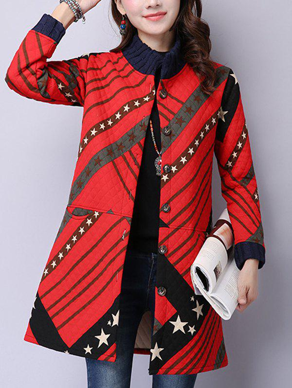 Button Up Printed Quilted Coat - RED XL