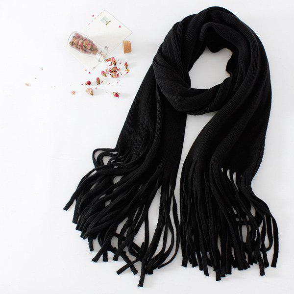 Long Braided Knitted Fringe ScarfAccessories<br><br><br>Color: BLACK