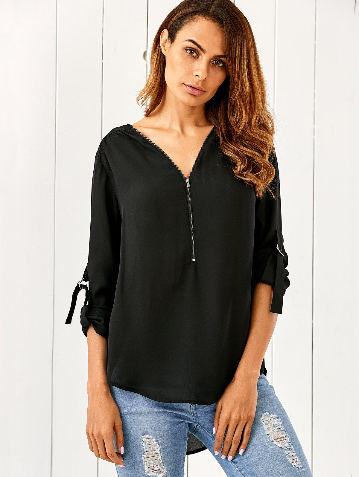 Zipper Up High Low Hem Blouse - BLACK M