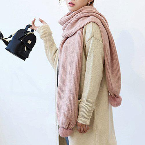 Long Winter Faux Fur Ball Knitted Scarf - LIGHT PINK