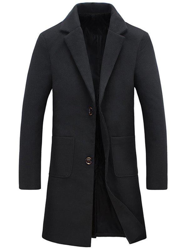 Bouton Manteau Pocket Lapel Woolen - Noir 5XL