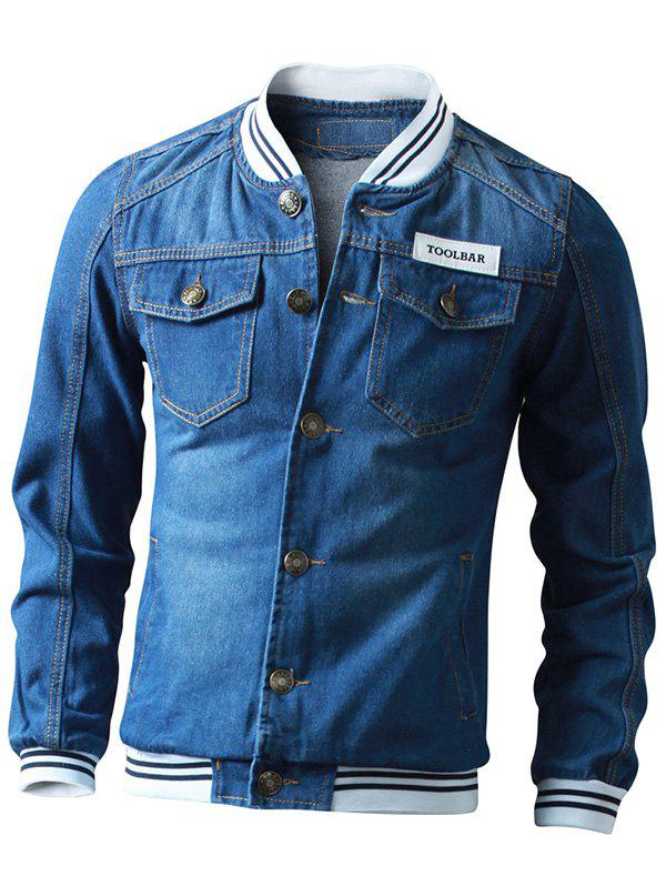 Button Up Striped Rib Insert Denim Jacket - DEEP BLUE M