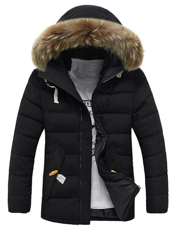 Faux Fur Hooded Button Pocket Zip Up Quilted Coat faux fur collar hooded plus size zip up thicken quilted jacket