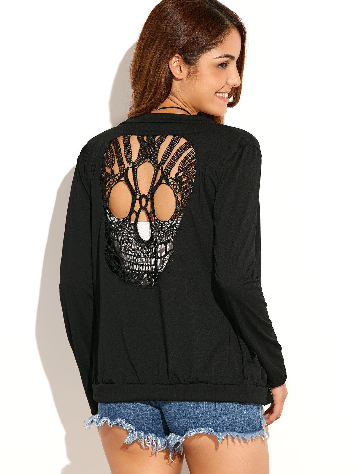 Halloween Skull Crochet Cardigan - BLACK S