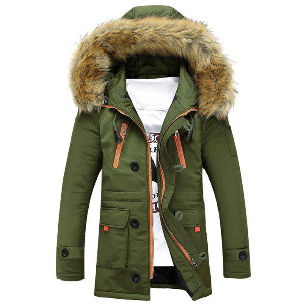 Buy Multi-Pocket Faux Fur Hooded Zip Padded Coat ARMY GREEN