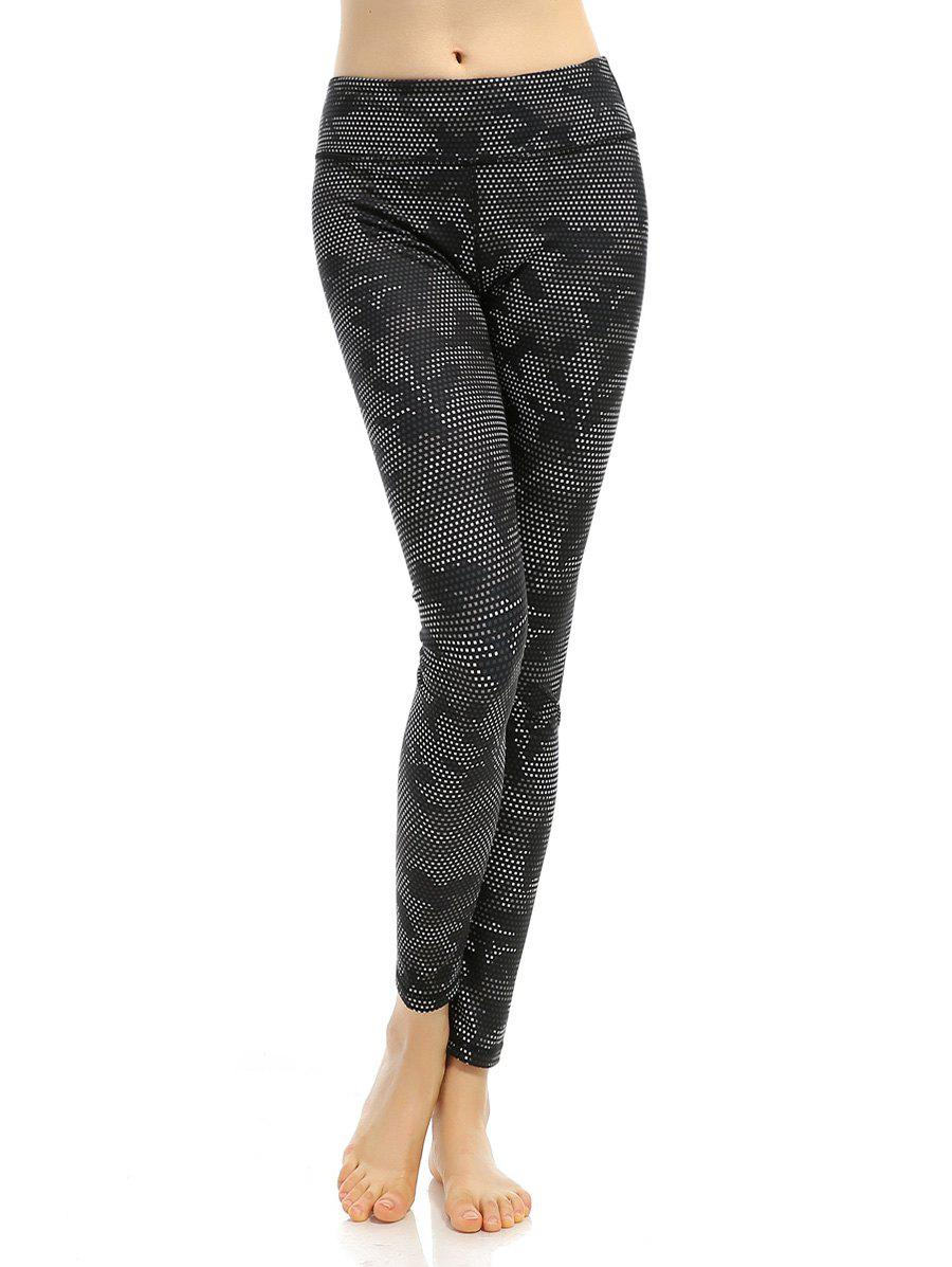 Printed High Stretchy Running Leggings - BLACK S