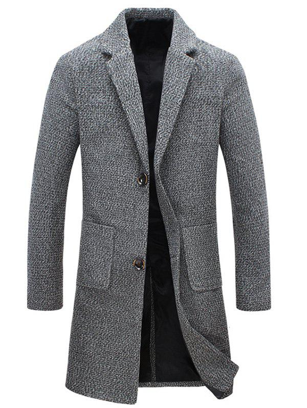 Buttoned Pocket Lapel Tweed Woolen Coat - GRAY XL