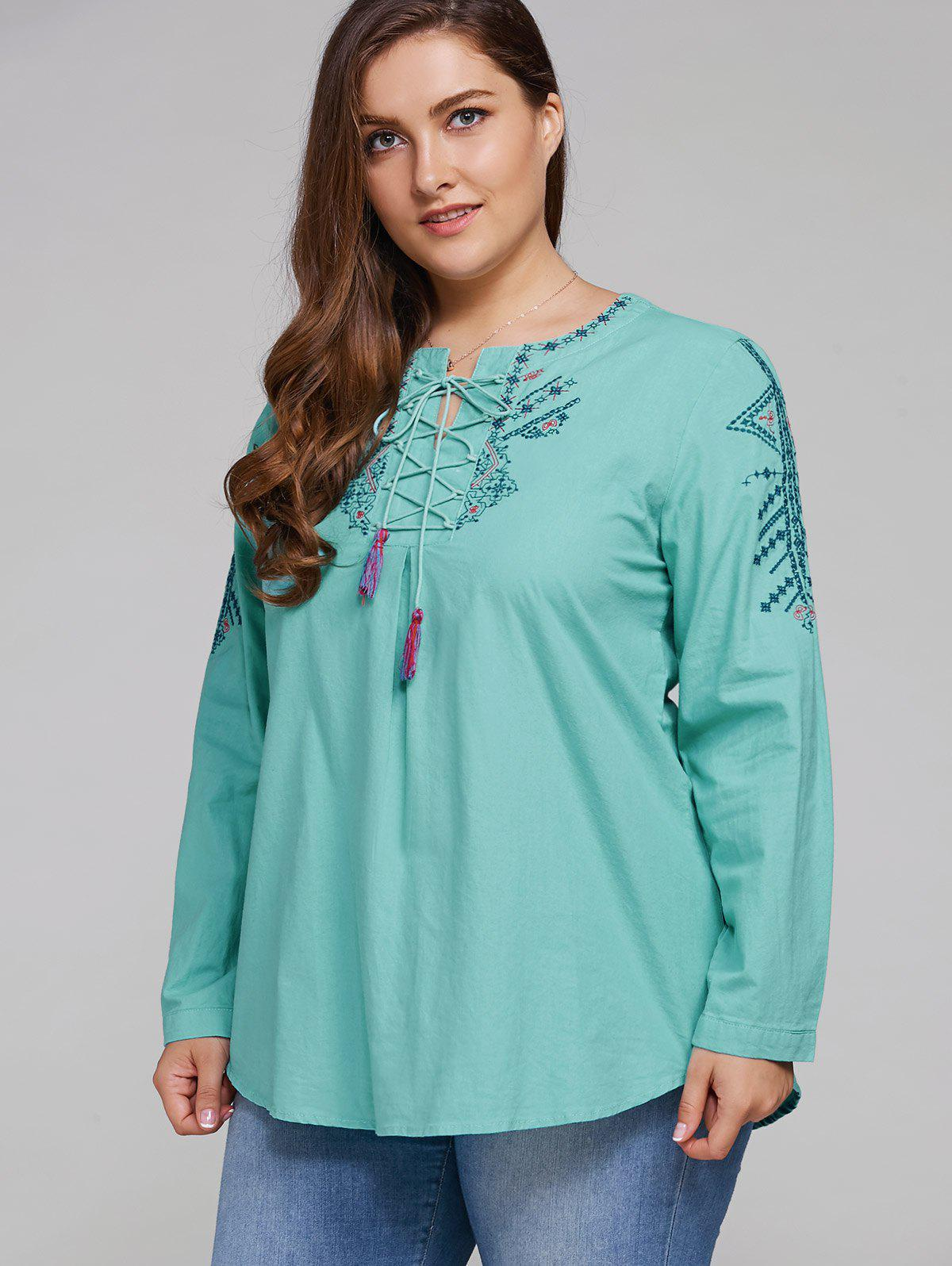 Plus Size Embroidered Lace Up Tassel Linen Top - Vert Menthe 2XL