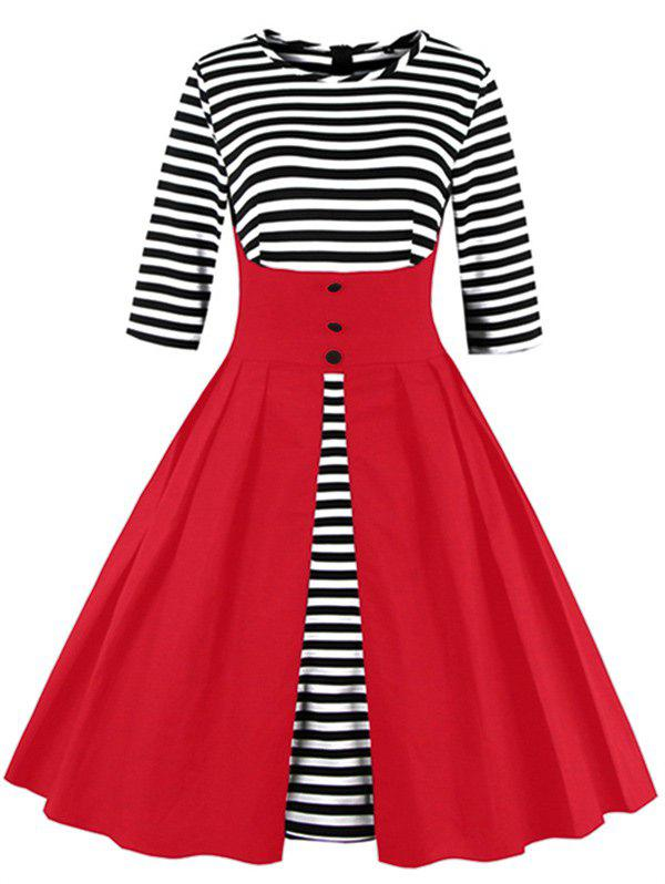 Midi Striped Formal Skater Cocktail Dress - RED XL