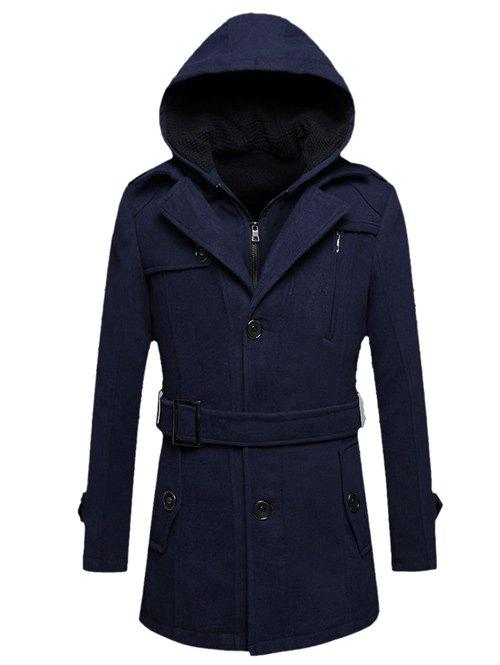 Hooded Belted Woolen Tweed Coat button tab cuffs hooded belted coat