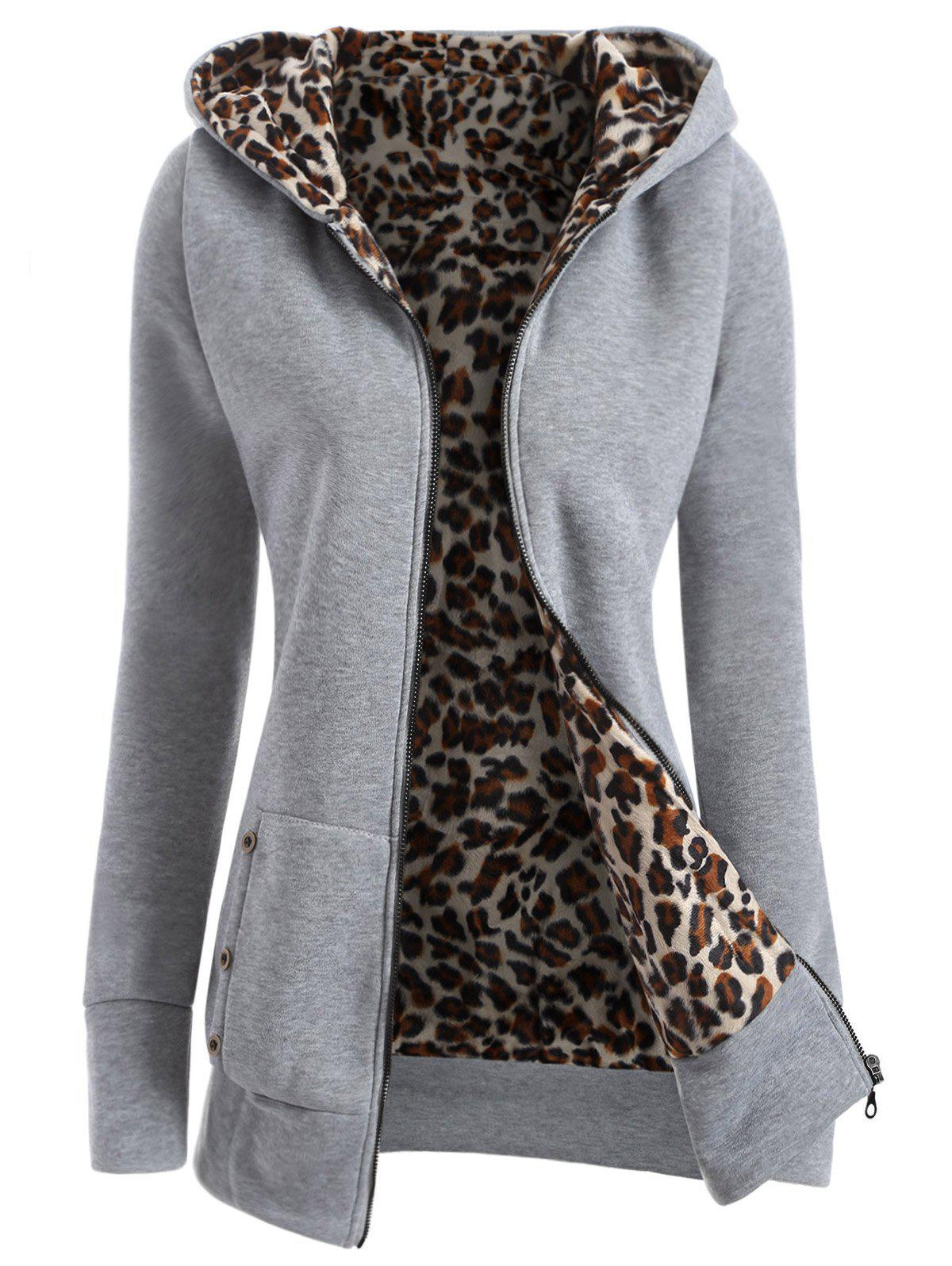 Zipper Fly Thicken Leopard Pattern Hoodie - LIGHT GRAY 2XL