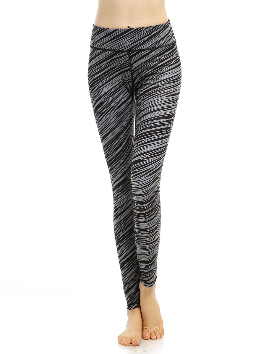 High Stretchy Printed Breathable Leggings, BLACK GREY, M ...
