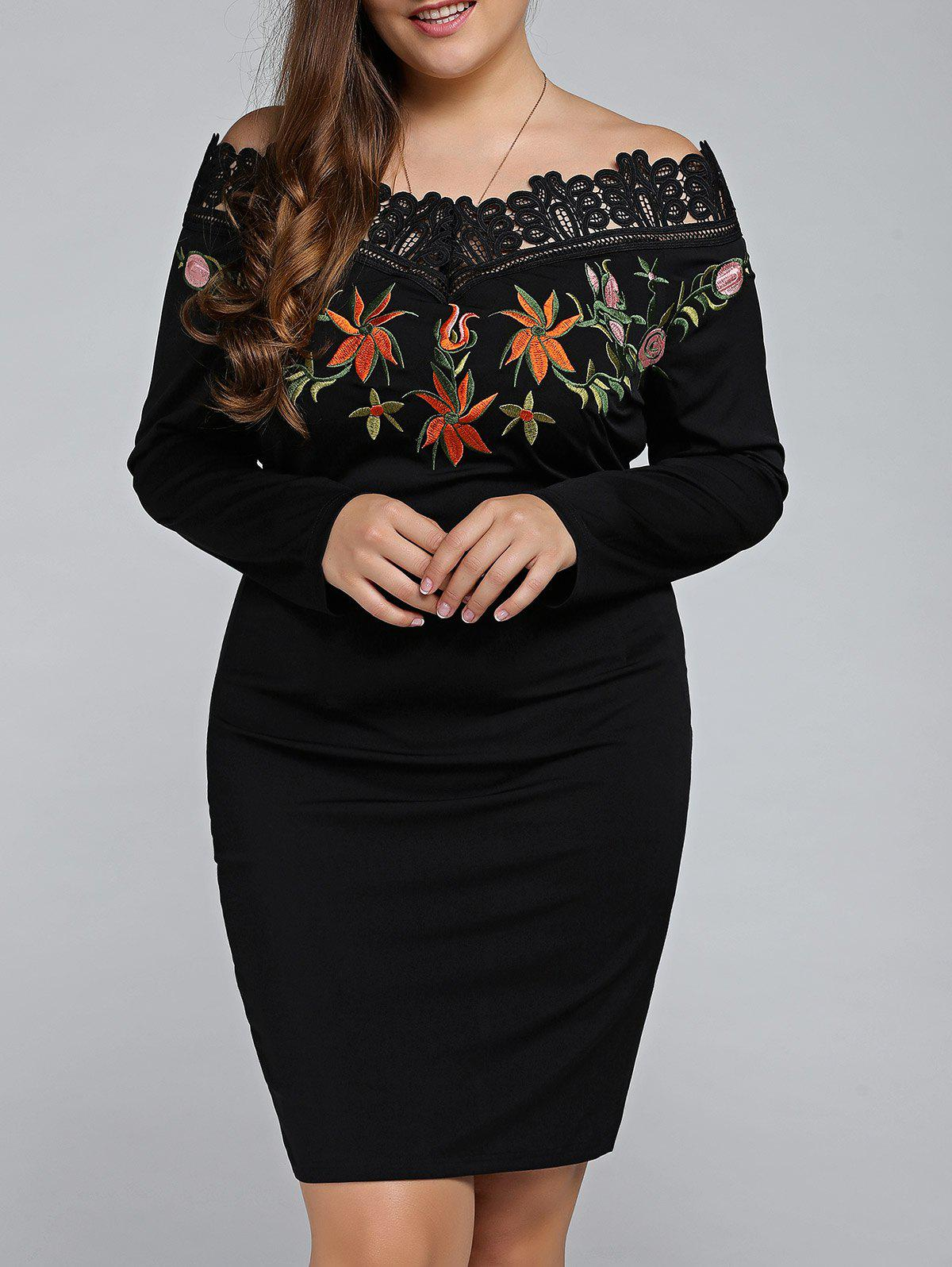 Plus Size Embroidered Off The Shoulder Sheath Dress, BLACK, XL in ...