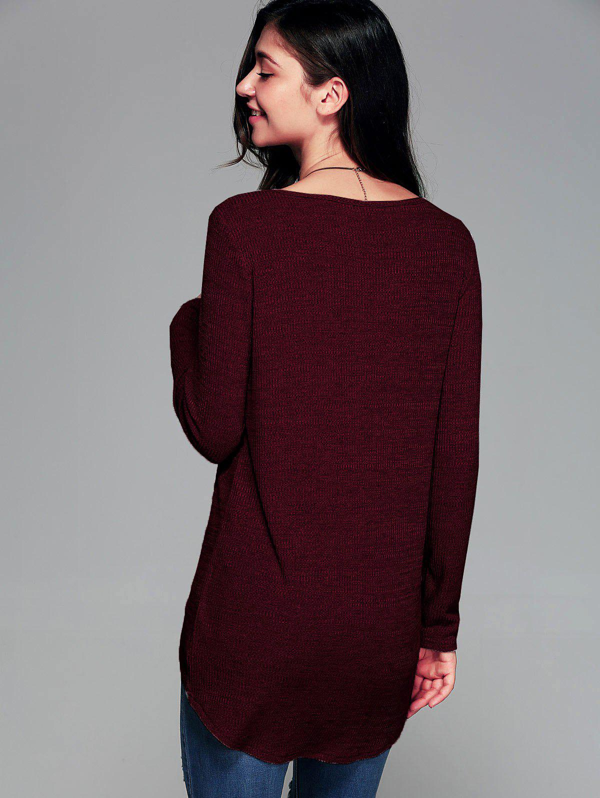 Front Slit Ribbed T-Shirt - WINE RED M