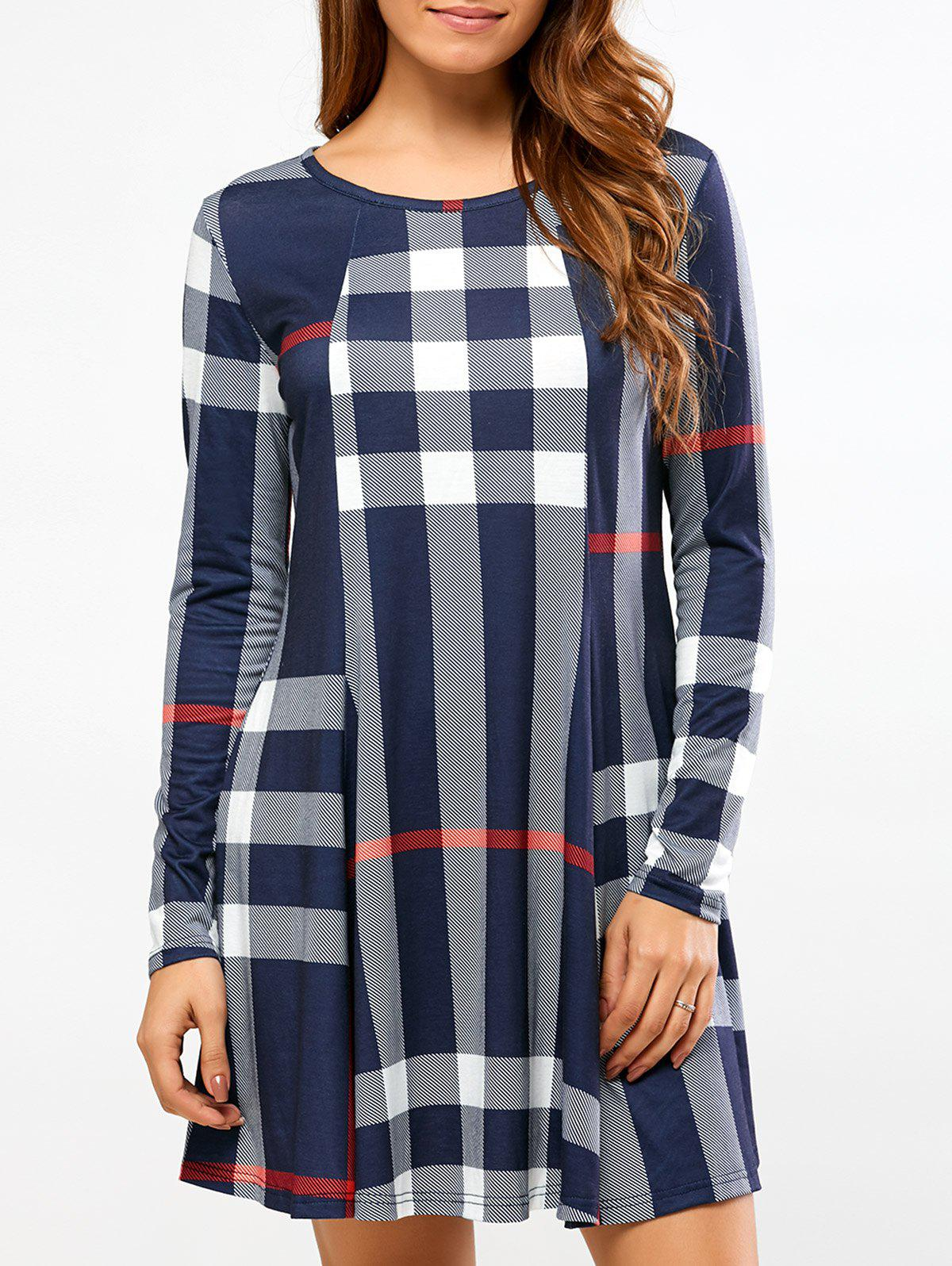 Fit and Flare Plaid Dress zip back fit and flared plaid dress