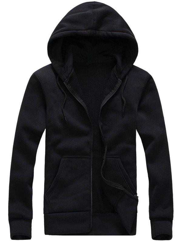 Zip-Up Hooded Long Sleeve Hoodie - BLACK 2XL