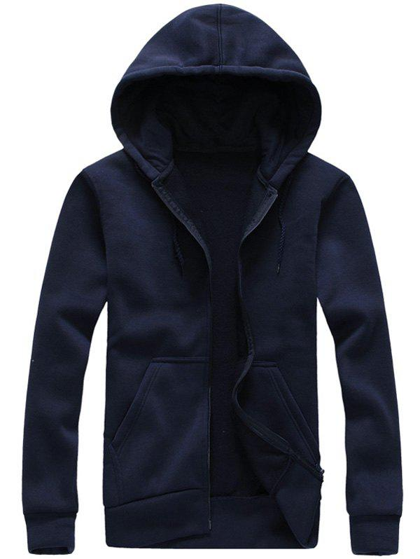 Zip-Up Hooded Long Sleeve Hoodie - CADETBLUE S