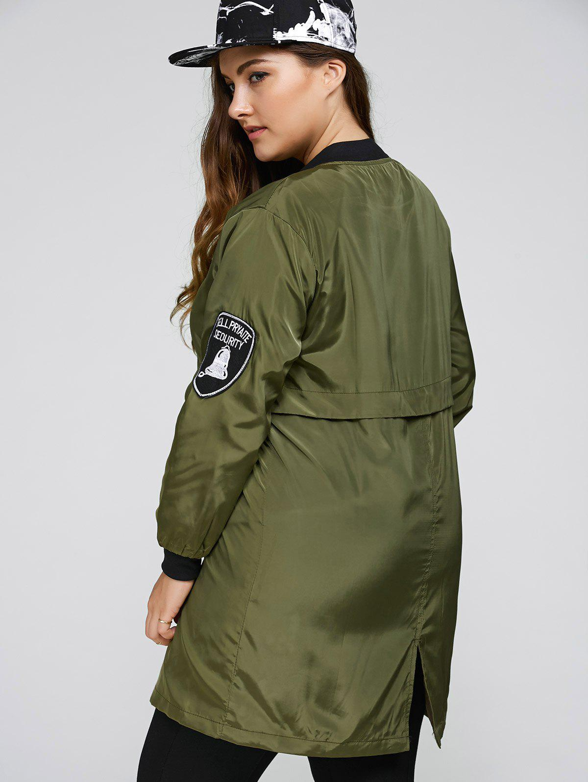 Plus Size Zip Up Long Bomber Jacket - ARMY GREEN XL