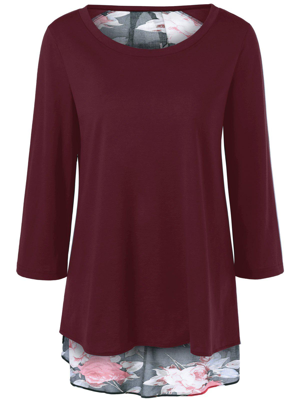 Floral Print Layered Blouse - WINE RED XL