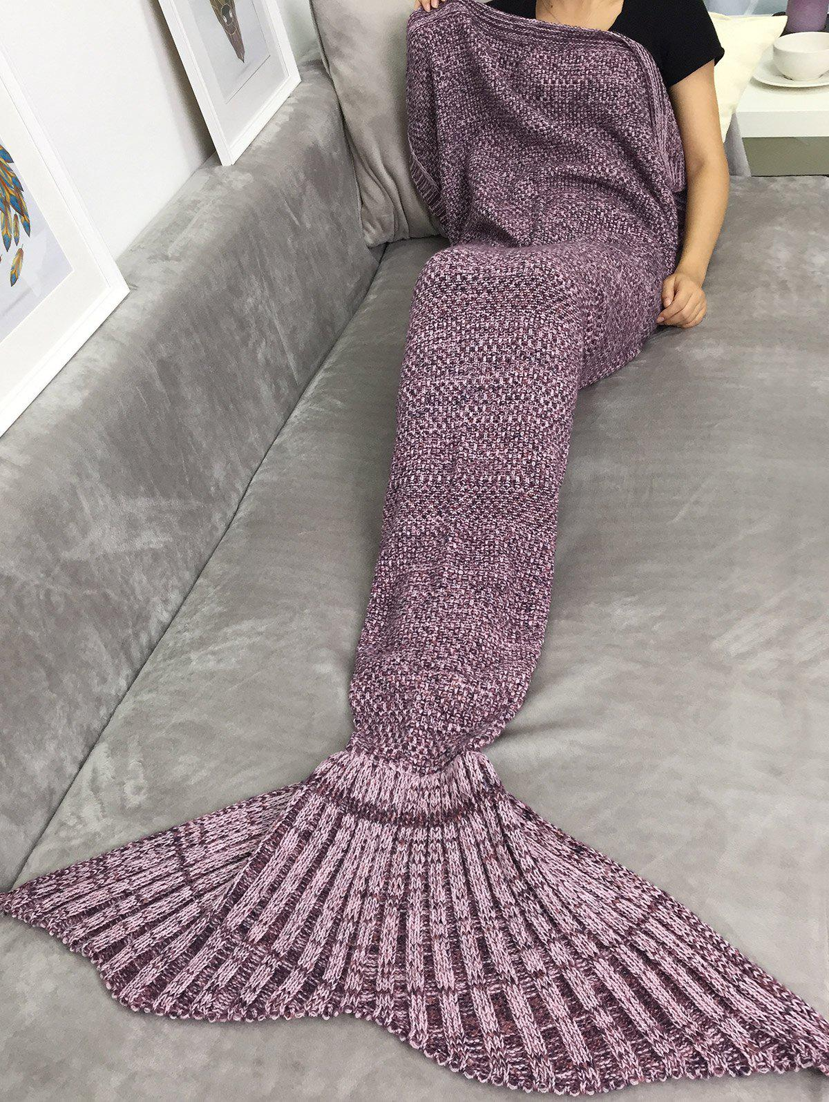 Handmade Knitting Sleeping Bag Sofa Wrap Mermaid Tail Blanket
