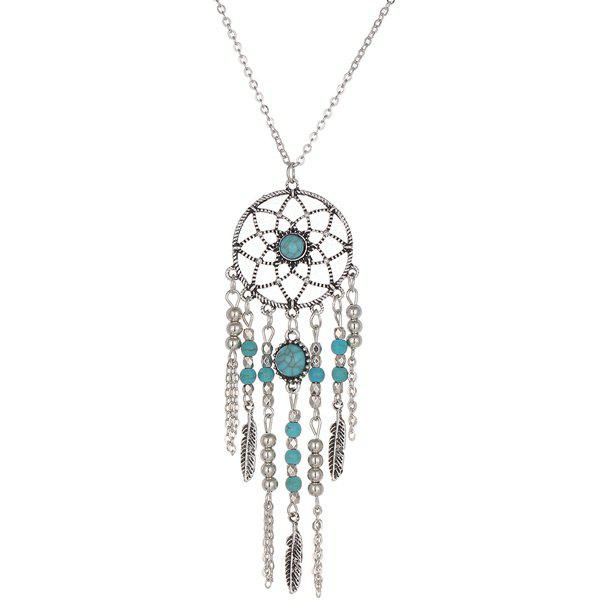 Faux Perles Turquoise Feather Sweater Chain - Argent