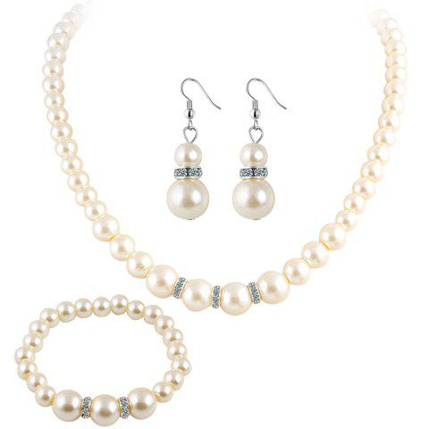 Artificial Pearl Beaded Necklace Bracelet and Earrings - WHITE