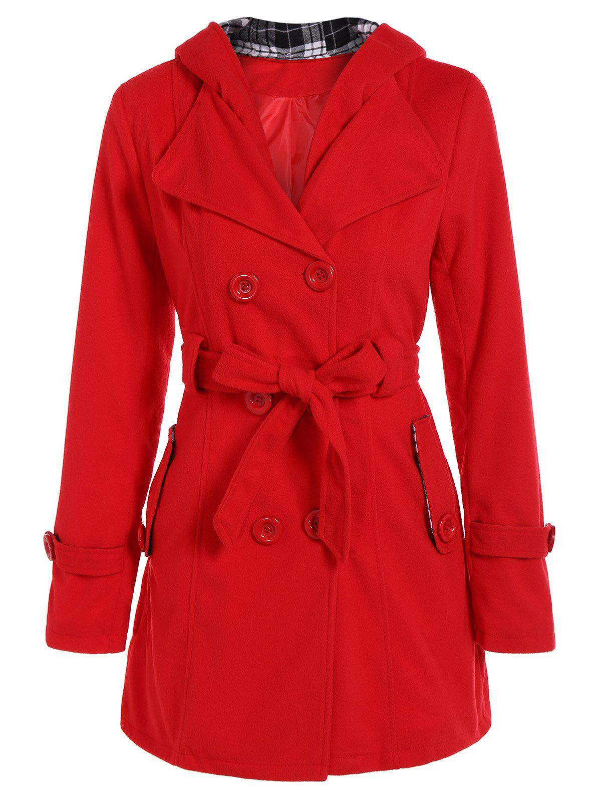Hooded Double Breasted Belted Trench Coat - RED 2XL