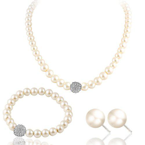 Rhinestone Faux Pearl Necklace Bracelet and Earrings artificial pearl rhinestone beaded necklace and earrings