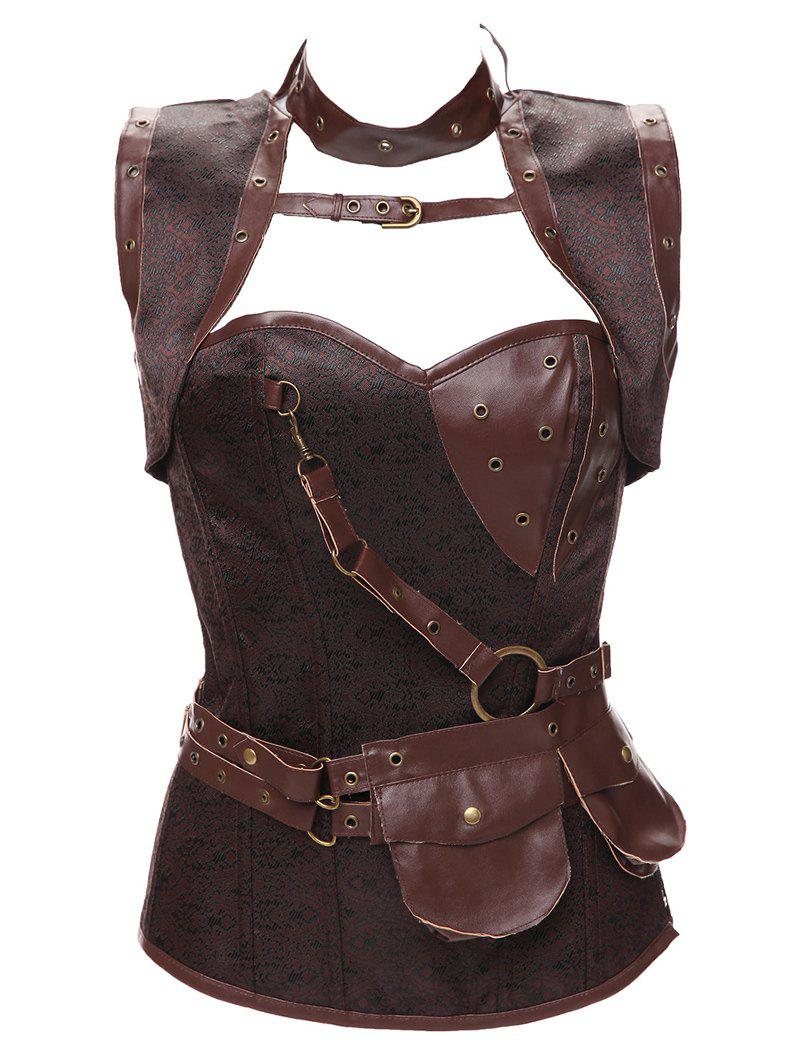 Gothic Faux Leather Belted CorsetWomen<br><br><br>Size: L<br>Color: BROWN