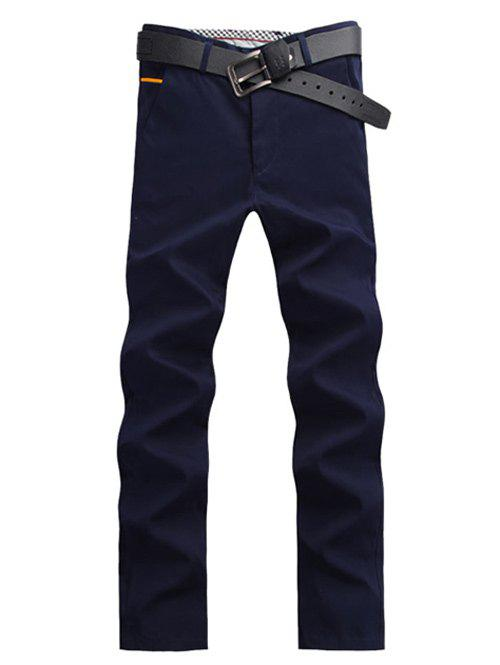 Casual droites Bouton Leg Pocket Chino Pants - Cadetblue 38