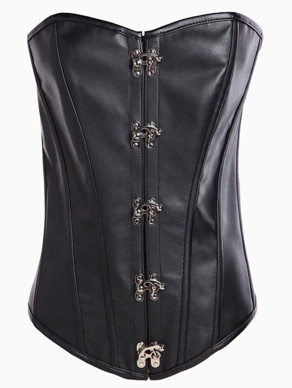 Strapless Lace-Up Cut Out Corset - BLACK S
