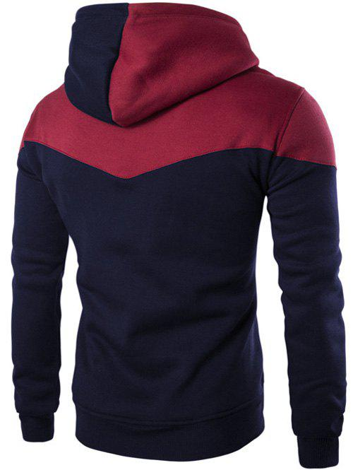 Kangaroo Pocket Contrast Color Pullover Hoodie - CADETBLUE L