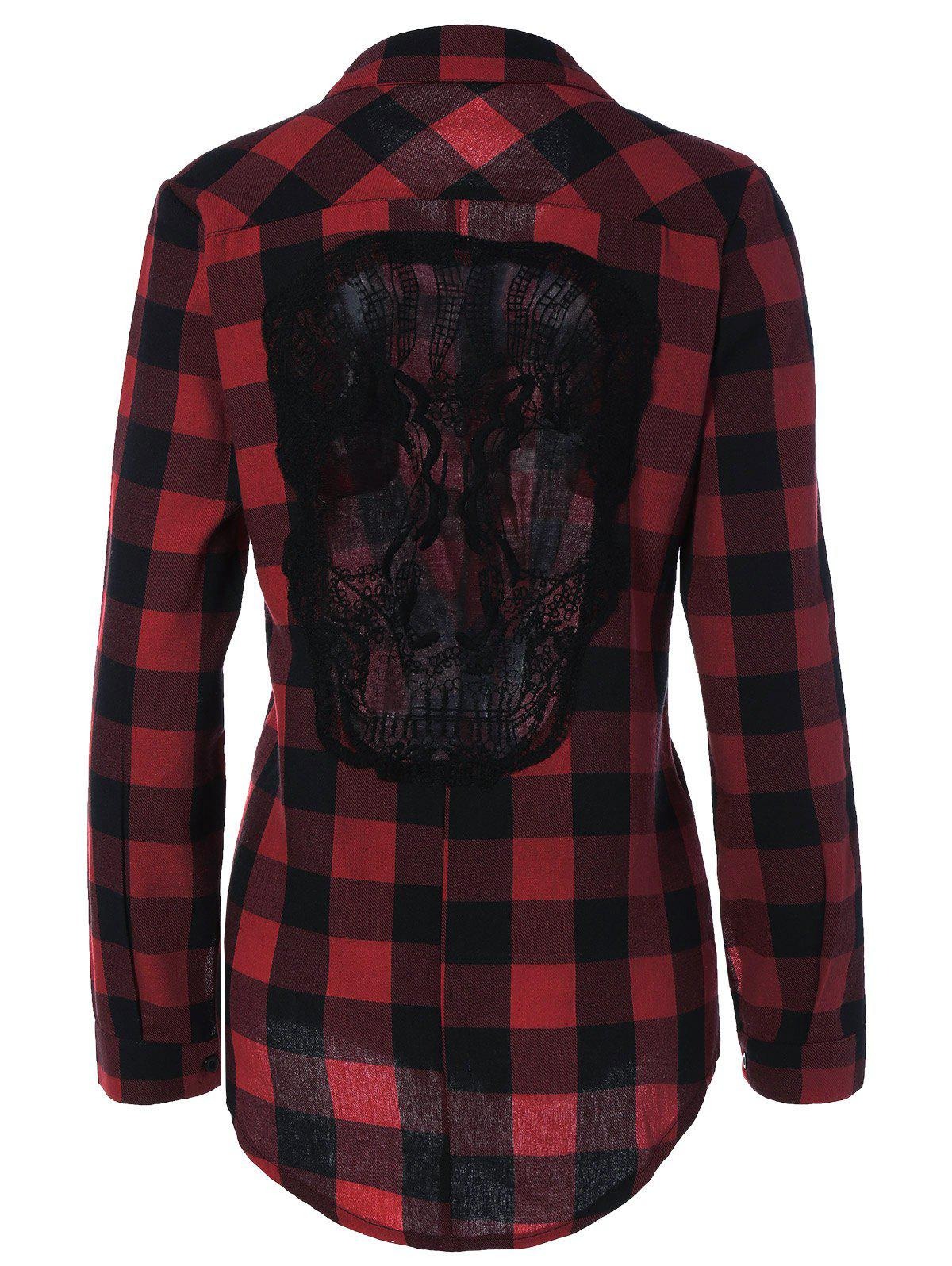 Plaid Back Skull Pattern Lace Splicing ShirtWomen<br><br><br>Size: XL<br>Color: DEEP RED