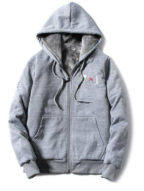 Hooded Zip-Up Coffee Cup Embroidered Fleece Hoodie - GRAY 3XL