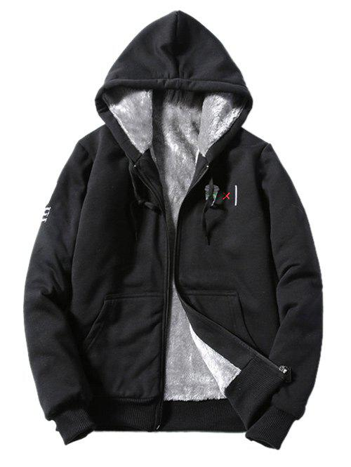 Hooded Zip-Up Coffee Cup Embroidered Fleece Hoodie - BLACK S