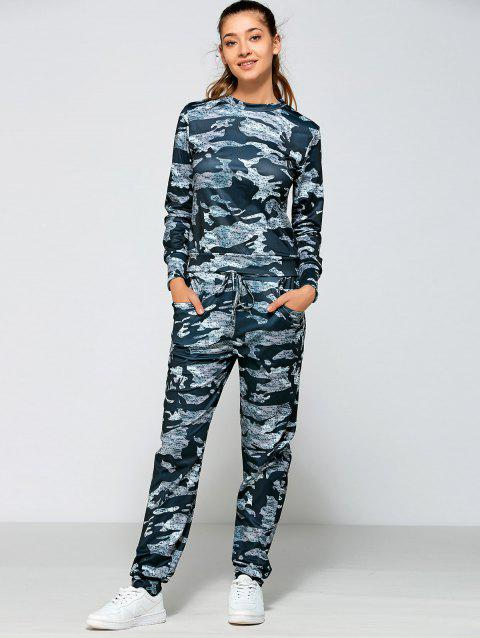 Camo Print Drawstring Waist Gym Outfits - Camouflage Marine M