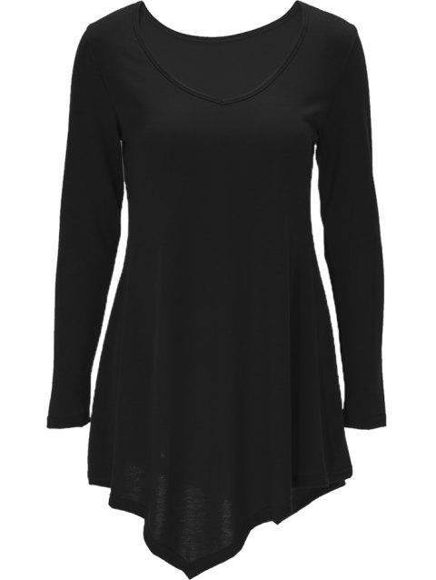 780421bab3aa 41% OFF  2019 Long Sleeve Asymmetric T-shirt Skater Dress In BLACK S ...
