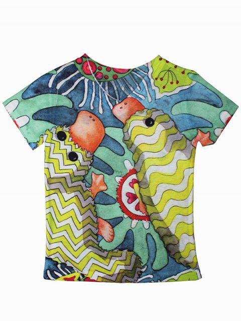 Cartoon Pattern Short Sleeve T-Shirt - YELLOW 140