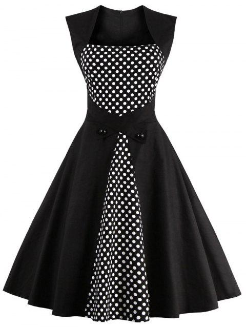 0e6a1a770e 41% OFF  2019 Polka Dot Semi Formal Midi Skater Dress In BLACK M ...